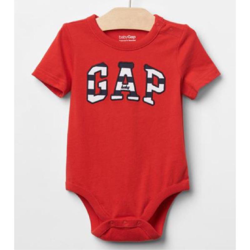 Gap logo 紅色短袖包屁衣