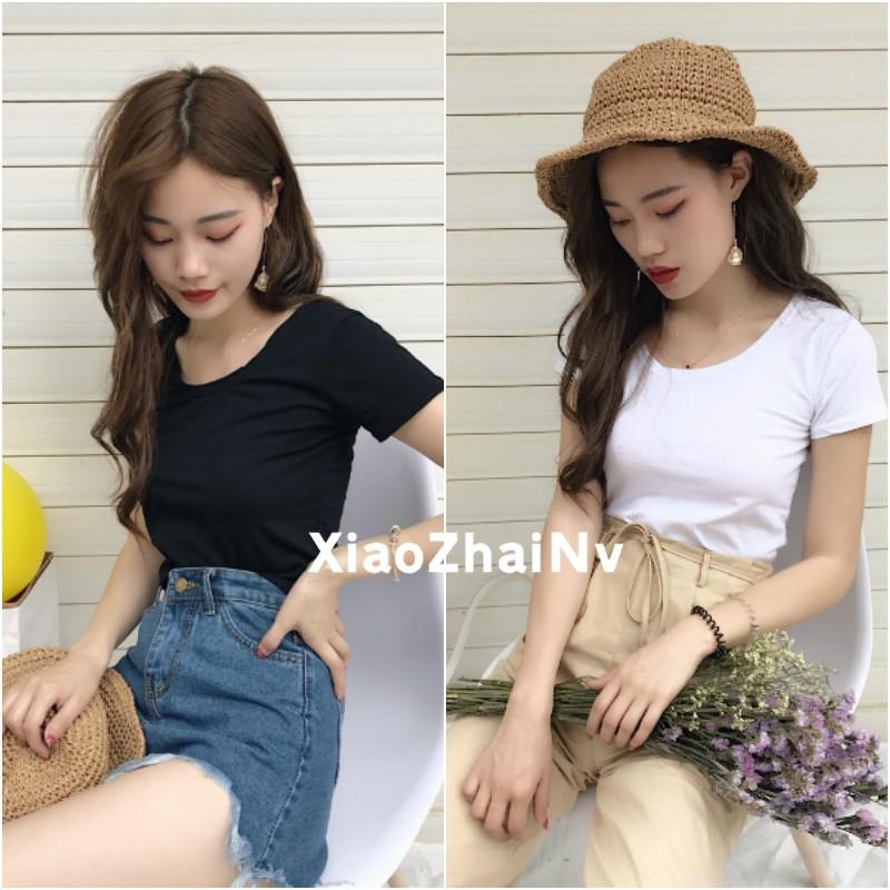 顯瘦短袖T 恤女生韓範打底衫百搭純色圓領上衣