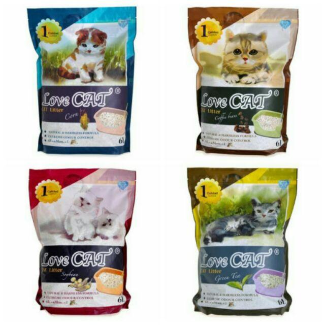 汪喵寶貝Love Cat n 新寵愛環保豆腐貓砂6L 玉米咖啡綠茶4 種口味