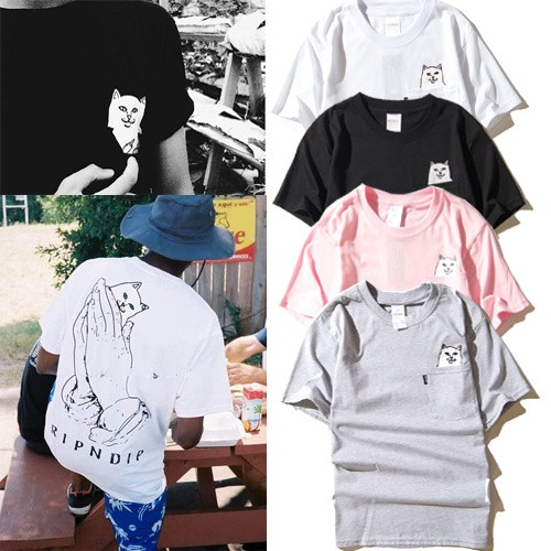 美潮街頭滑板嘻哈卡通賤貓口袋中指貓咪短袖T 恤男女情侶潮tee