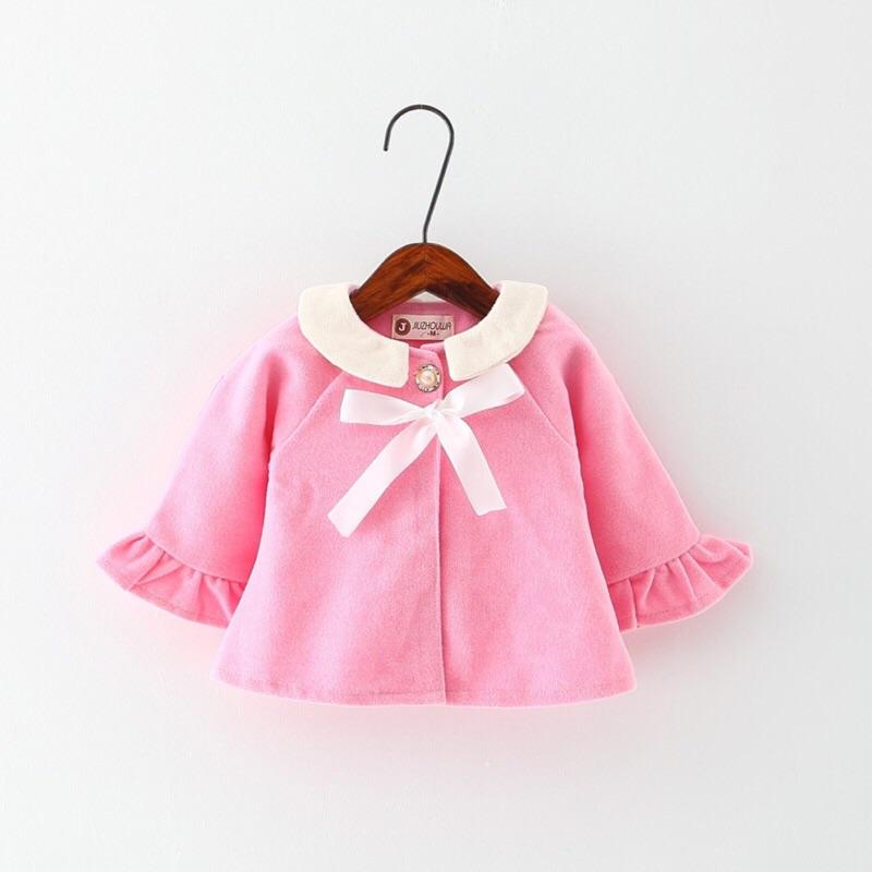 曈曈Baby  女童娃娃領毛呢開衫外套中小童外出服披風