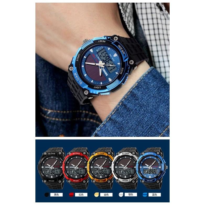 SKMEI 時刻美太陽能手錶男士 電子手錶防水雙機戶外潮流 男錶學生腕錶LED 電子手錶防