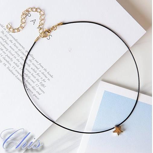 Chis Store ~單層星星細頸鍊~韓國 原宿風五角星星細皮革細繩頸圈鎖骨鍊短項鍊項圈