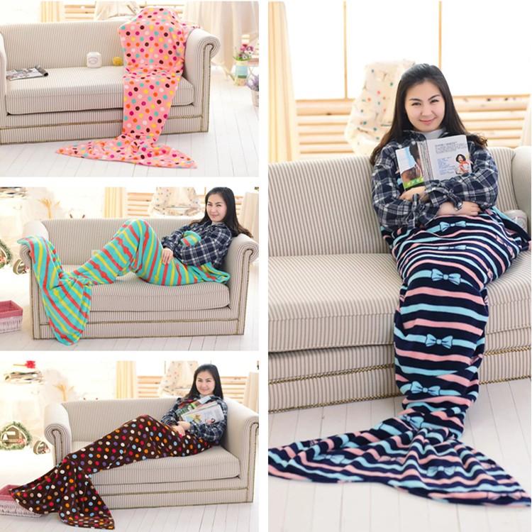 FAT CAT 日韓系 ~爆款 美人魚法蘭絨毯魚尾巴空調毯沙發毯車載午睡毯兒童生日 女生~