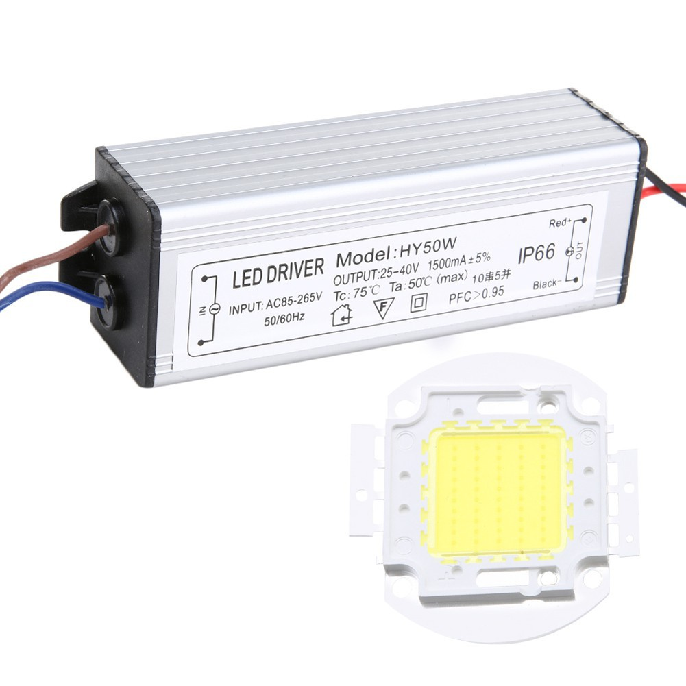 10w 20w 30w 50w COB 燈晶片燈泡與LED 驅動器的DIY 泛光燈