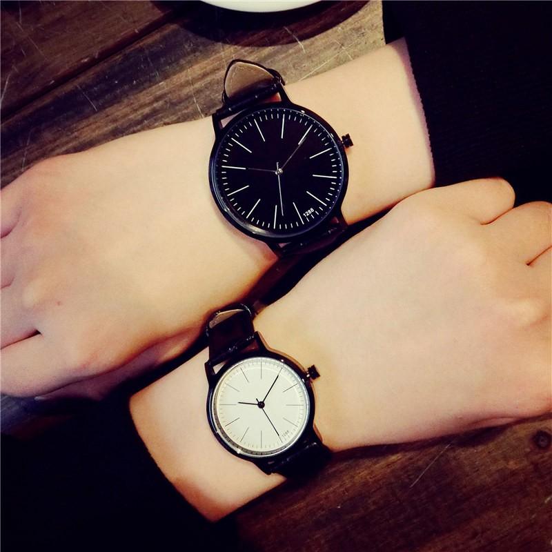 正品大牌真皮帶皮革防水男表女表 潮流情侶一對非機械石英手表