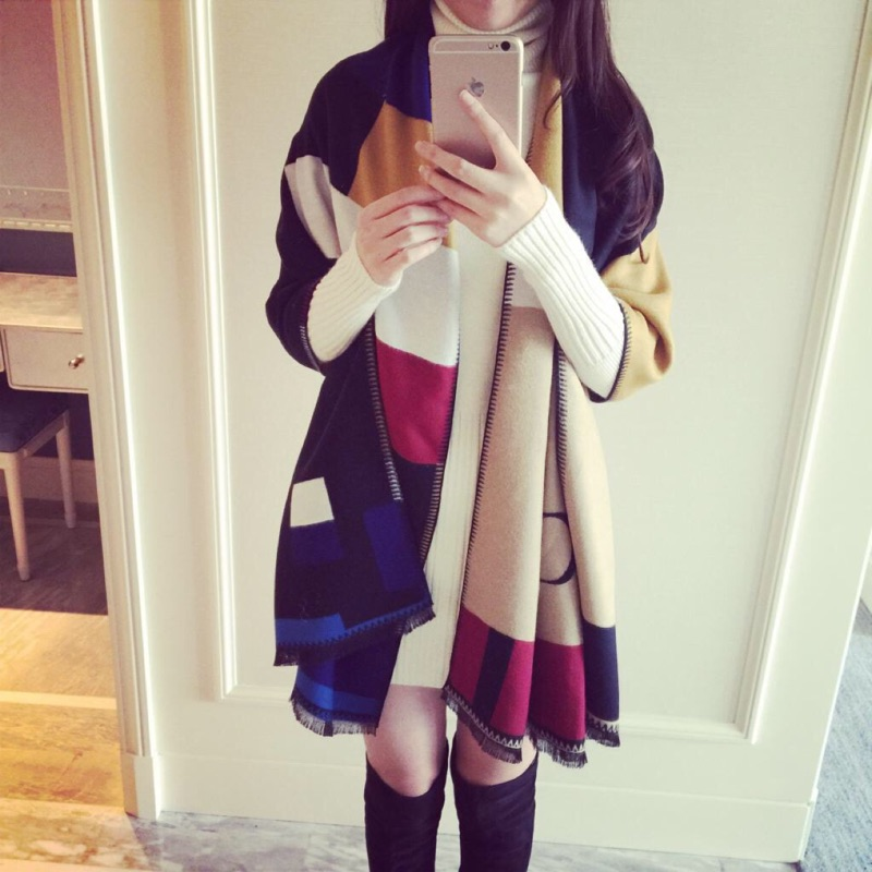 格子圍巾披肩毯子三用超大加厚保暖仿羊絨百搭披風
