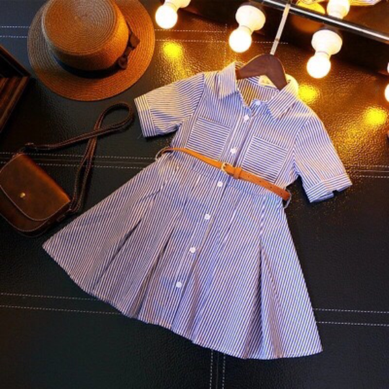 2017 年 新品女童條紋收腰短袖氣質短袖襯衫領兒童連衣裙子