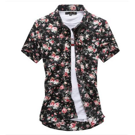 短袖襯衫男士2017 春夏 印花修身 發型師碎花半袖襯衣潮大碼男衣著