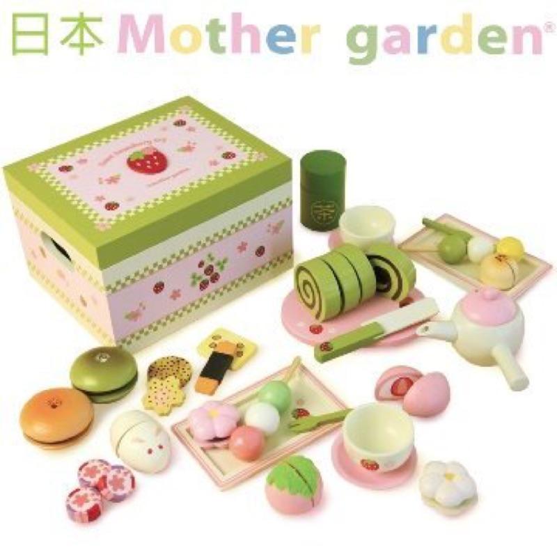 Mother Garden 家家酒遊戲木製仿真日式抹茶點心盒日式和風抹茶蛋糕下午茶和菓子
