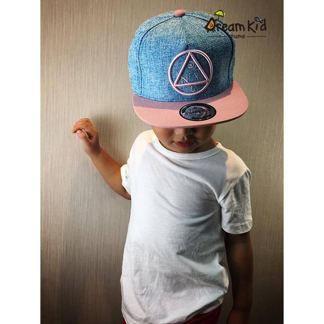 一韓系兒童帽子親子帽情侶帽韓國童帽鴨舌帽棒球帽男女童帽三角英文潮帽藍色