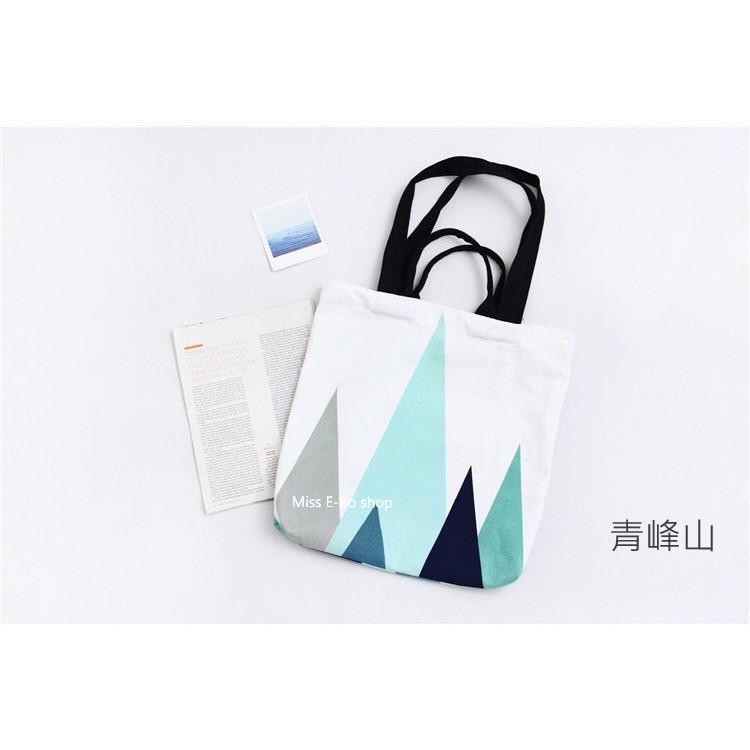 兩用包~青峰山~ 款印花布包小清新學生帆布袋 包拉鍊側背包手提袋帆布包1G013