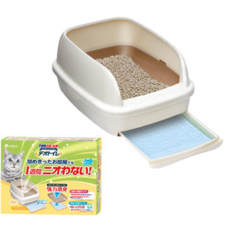 UNICHARM 嬌聯半罩雙層貓砂盆米白色貓沙盆