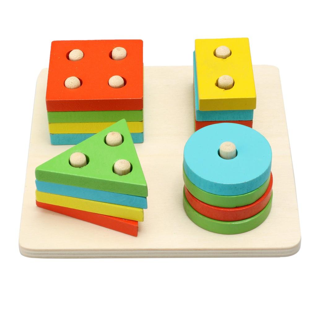 木製正方體 配對套柱積木幾何圖形蒙氏教具數學兒童寶寶益智建築玩具