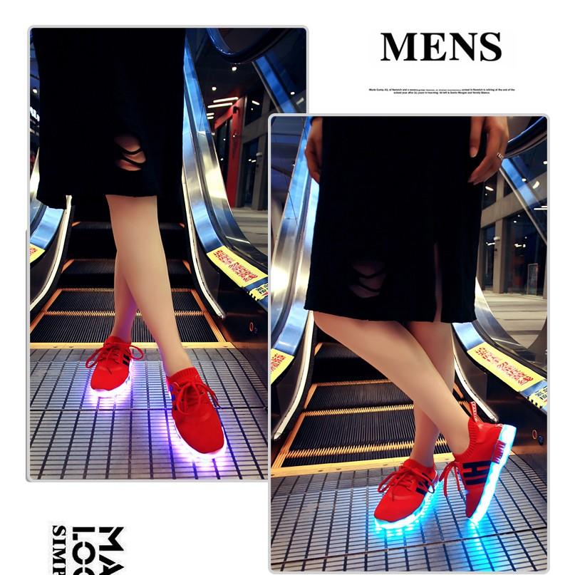 七彩led 發光鞋男女帆布鞋usb 充電夜光螢光休閒鞋