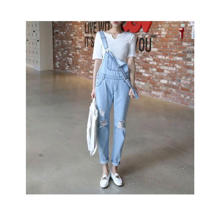 ~7MPS ~大口袋單寧褲修身顯瘦潮 女裝水洗破洞牛仔褲吊帶褲連身褲吊帶裙