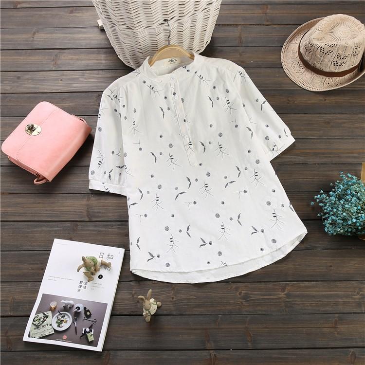17562 韓系棉麻小碎花中袖襯衣小清新五分袖立領寬鬆襯衫