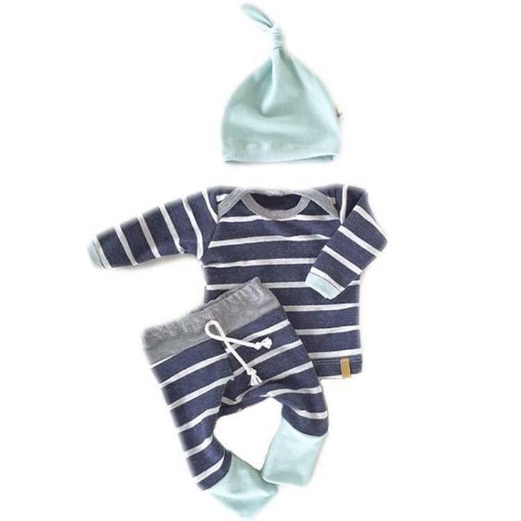 ins 男童秋裝純棉薄款長袖套裝0 1 2 歲男女三件套寶寶嬰兒衣褲