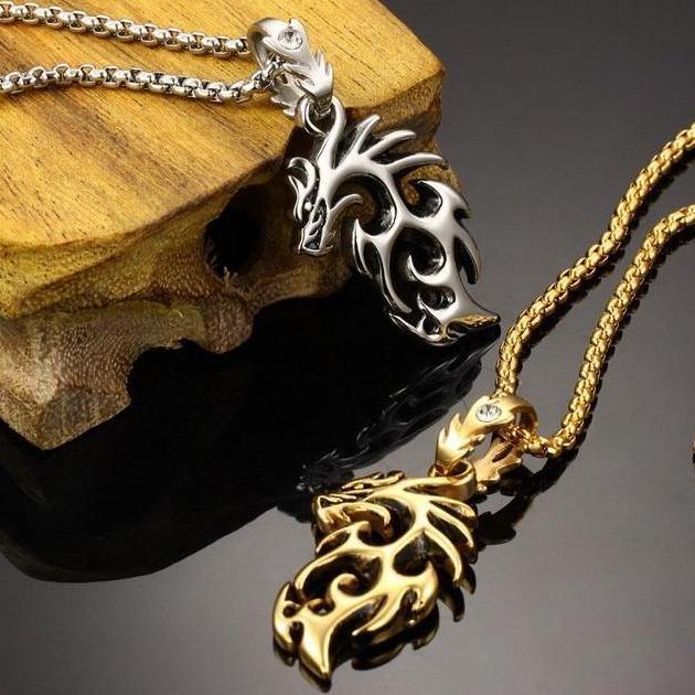 ~X946 ~單條 金龍銀龍鈦鋼 項鍊316L 鈦鋼情人對鍊十字架鈦鋼項鍊鑲鑽扣環項鍊金龍