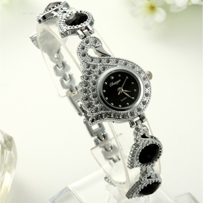 2016 年新 手鐲表女性水鑽手錶天鵝形狀石英女士腕錶