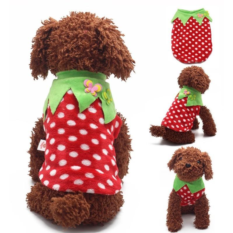 id107 法蘭絨草莓款寵物衣狗衣服泰迪狗衣服春夏款吉娃娃貴賓變裝水果二腳衣
