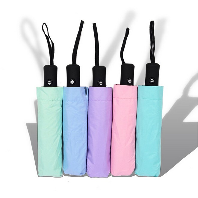 ✨ ✨韓國 黑膠素色三折疊傘晴雨两用小黑傘防曬防紫外線護外遮陽傘GGYYS04