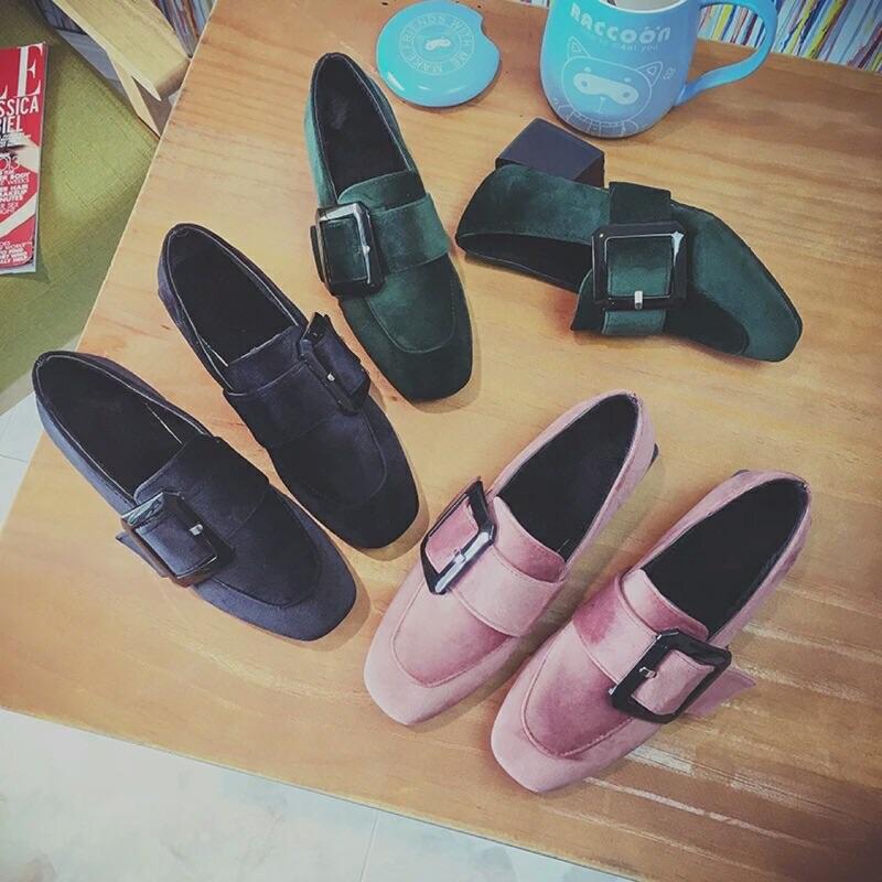 黑色2016  搭扣方頭粗跟中跟單鞋加絨英倫復古工作鞋女鞋子