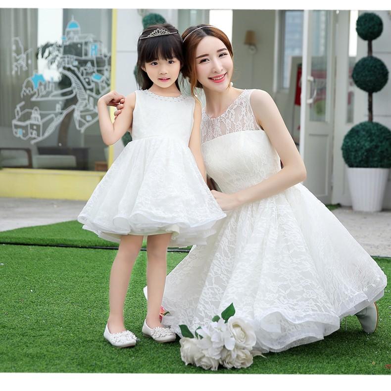 2016 裝 親子裝蕾絲母女裝兒童禮服婚禮蓬蓬公主連身裙