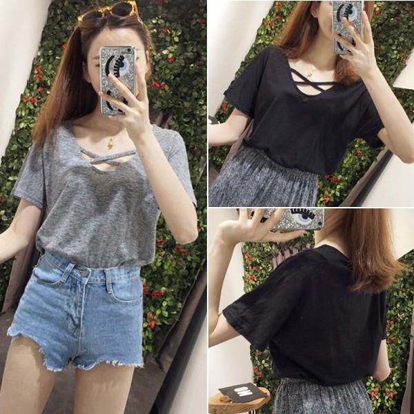 波波2016 女裝 低領交叉線竹節棉基礎款純色韓風學院風短袖T 恤