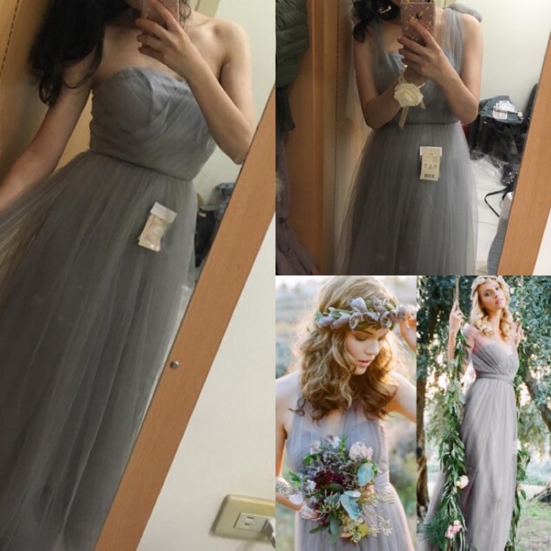 湖水綠(灰)長版氣質飄逸伴娘舞會綁帶禮服洋裝