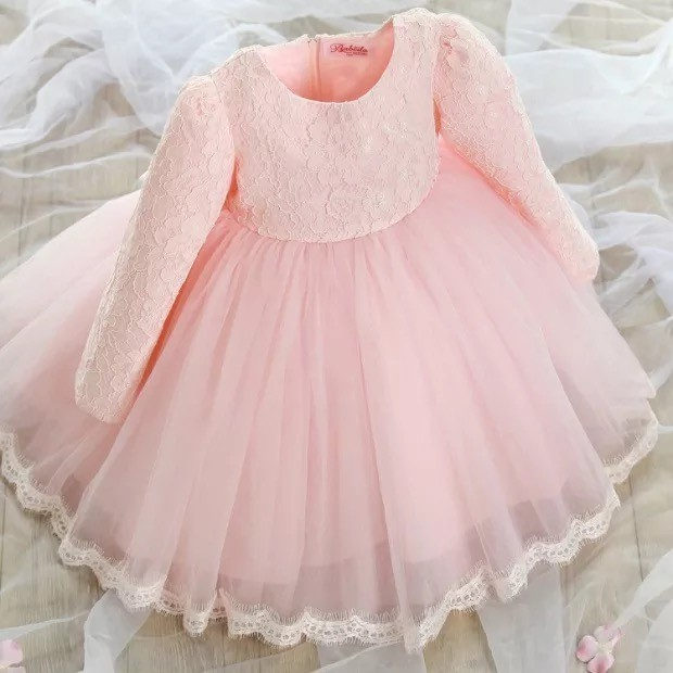 花童禮服女兒童公主裙女童秋裝長袖連衣裙寶寶婚紗生日蓬蓬裙