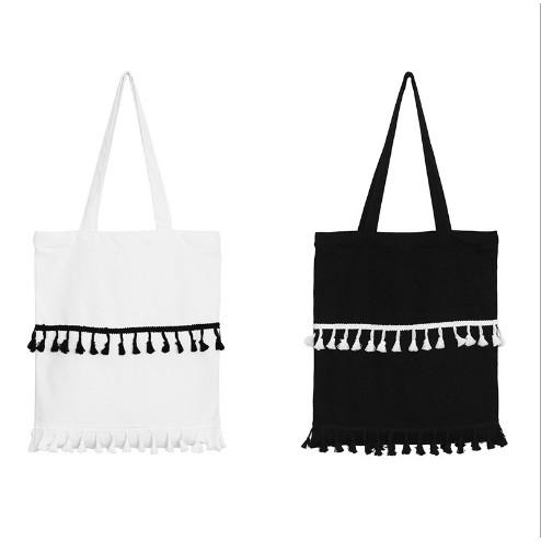 黑色 黑白流蘇可愛撞色流蘇裝飾單肩手提帆布包學生書包