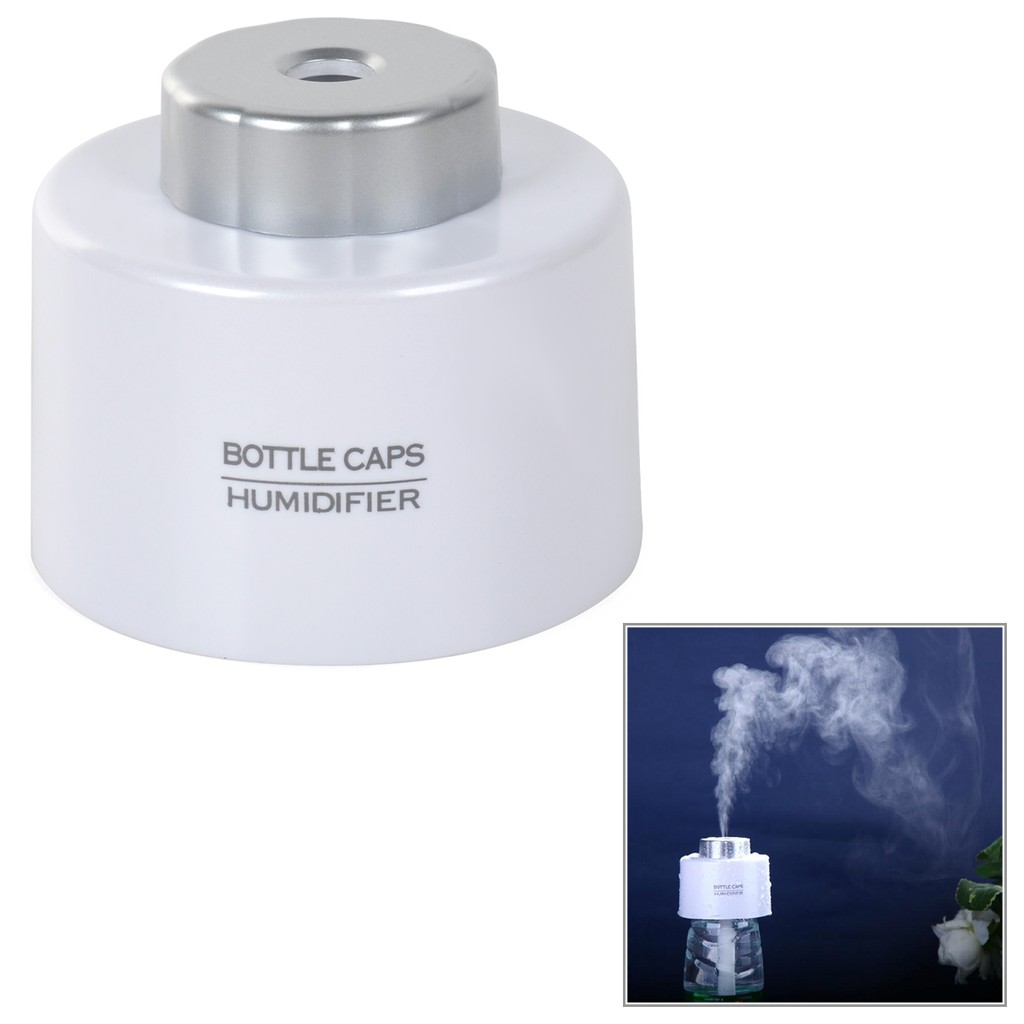 白色可擕式USB 空氣加濕器瓶蓋加濕器迷你加濕器電腦辦公加濕器