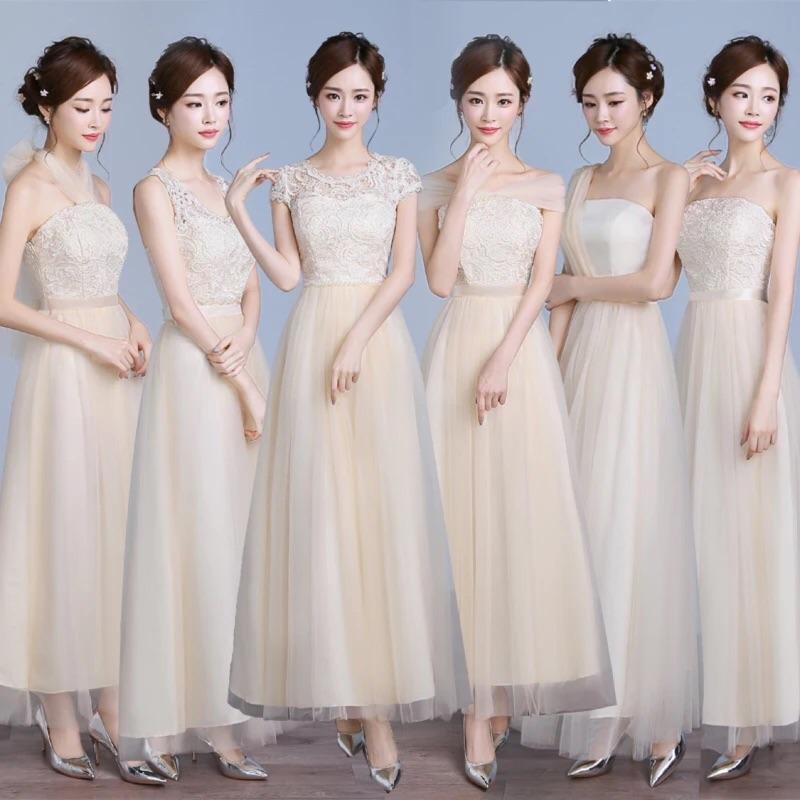 伴娘服伴娘團服長禮服小禮服姐妹服團體服演奏禮服主持人服六款式米色、紫色、水藍色、粉紅色