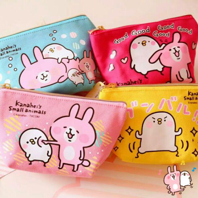 卡娜赫拉♡ kanahei 粉紅兔兔P 助小雞帆布卡通手拿包筆袋零錢包收納包鉛筆盒卡通化妝