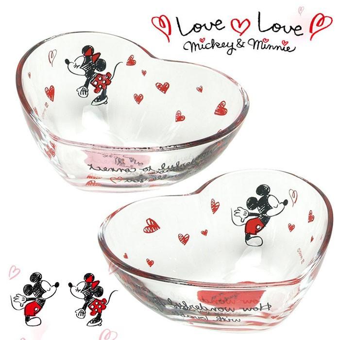 ~迪士尼~Disney Mickey Minnie Love 米奇米妮手繪愛心玻璃對碗組