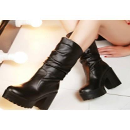 201 012 復古馬丁靴中筒低跟平底短靴雪靴35 黑色