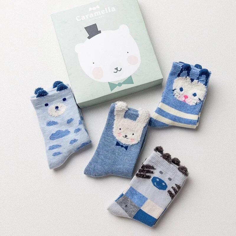 滿件送襪~️(10 24cm 親子襪)四入藍色系立體耳朵動物短襪男童女童兒童寶寶 純棉童襪