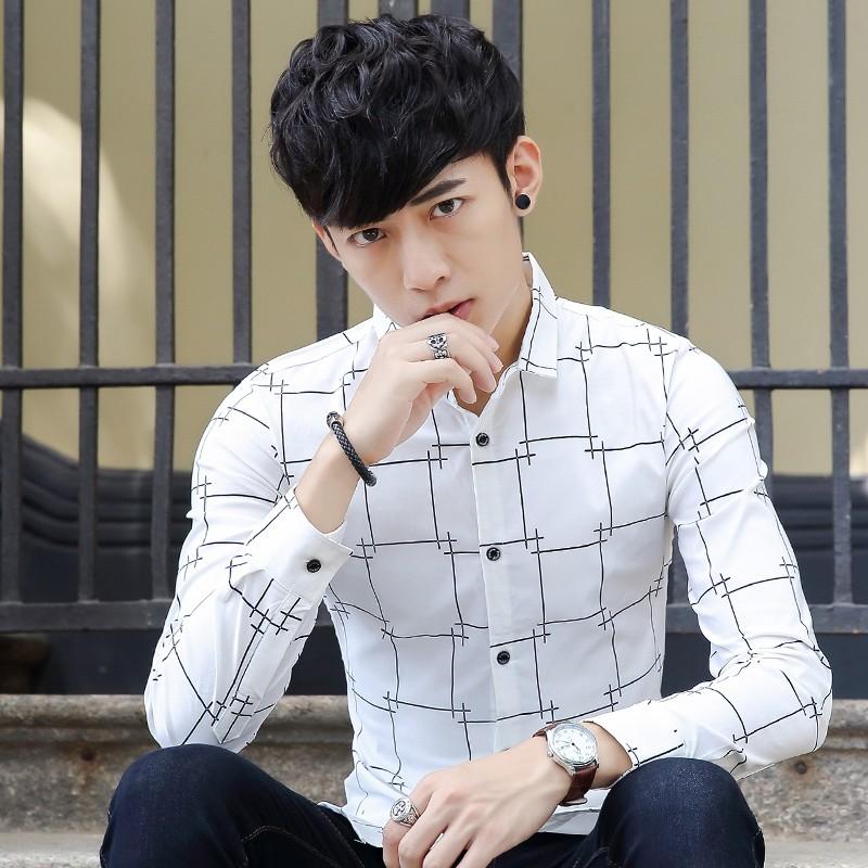 氣質男長袖男士青年純棉襯衫四季款 百搭 修身型格子襯衣810
