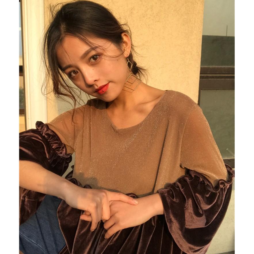 CINSE THEN 復古韓國chic 風金絲絨木耳邊雪紡衫套頭圓領網紗拼接娃娃衫上衣女