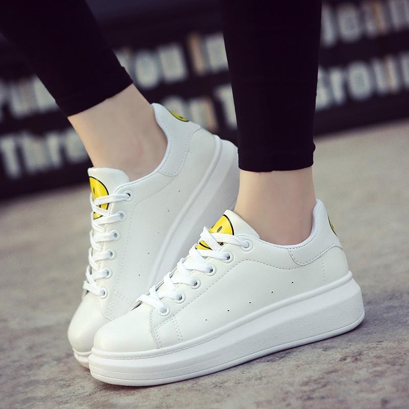 2016 夏 透氣 鞋白色笑臉圓頭帆布鞋系帶板鞋女鞋平底單鞋潮娃娃鞋豆豆鞋休閒鞋懶人鞋