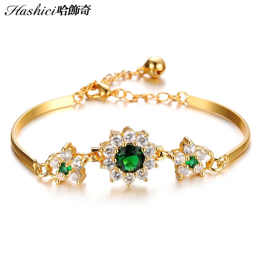 哈飾奇DCC 436 銅度18 金綠色爪鑽小花復古金手鍊文定之喜結婚 單條價