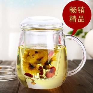 帶蓋蘑菇杯耐熱玻璃杯加厚過濾式透明花茶杯辦公居家水杯子