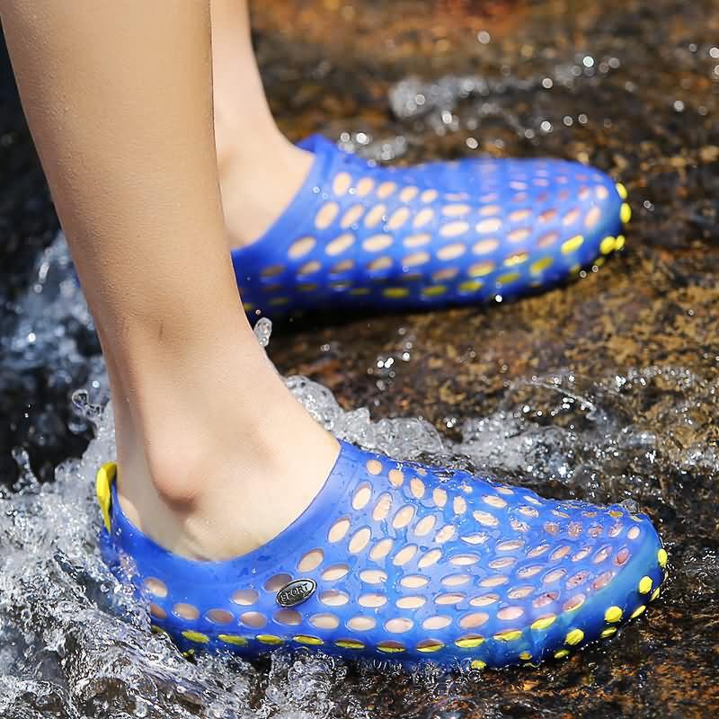 男士洞洞鞋沙灘涼鞋拖鞋,藍色商務休閒真皮英倫系帶軟底防臭潮鞋 日常鞋