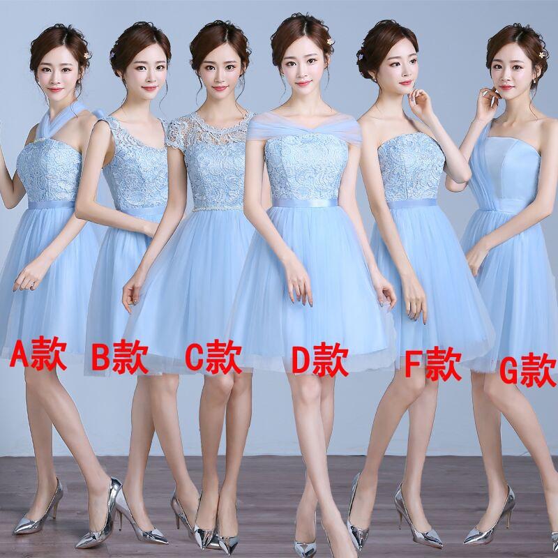 伴娘服短款2016 藍色姐妹裙伴娘團畢業禮服顯瘦晚禮服小禮服女