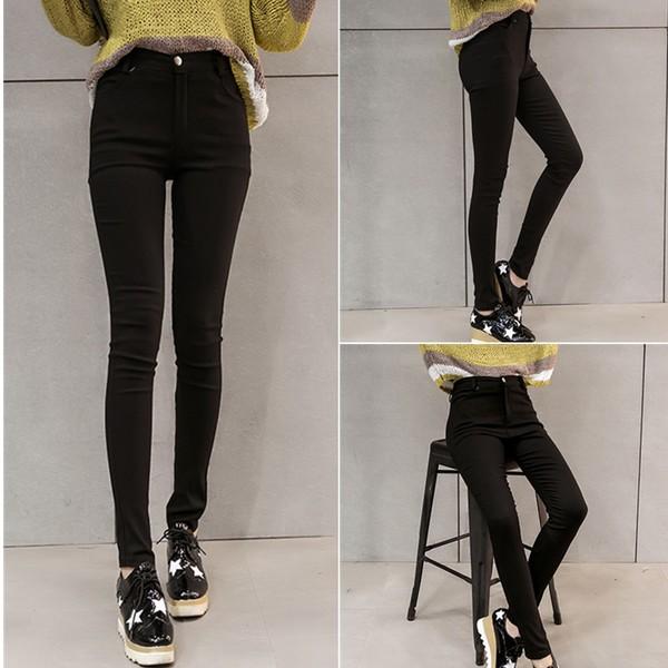 PRETTY CLOTHES  百搭彈力外穿 褲高腰大碼長褲緊身學生小腳鉛筆褲潮女