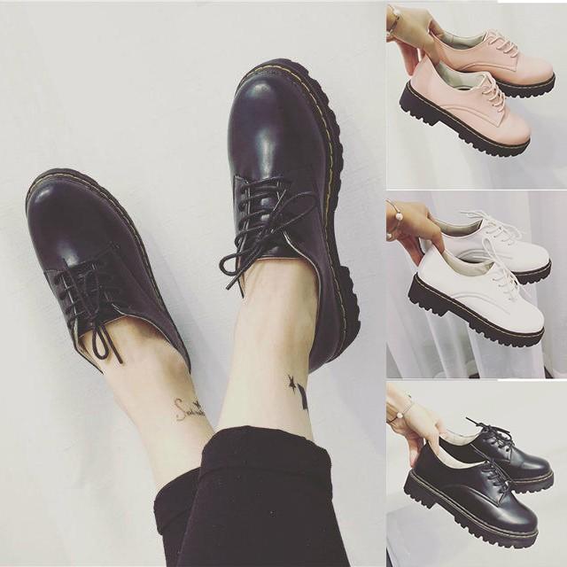 韓國范 女鞋單鞋厚底松糕鞋英倫學院風系帶學生小皮鞋圓頭大頭鞋短靴