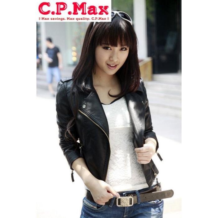 C P Max  女式修身PU 皮衣女皮衣防風衣小外套短款 潮機車服皮夾克QIT 嚴格品管