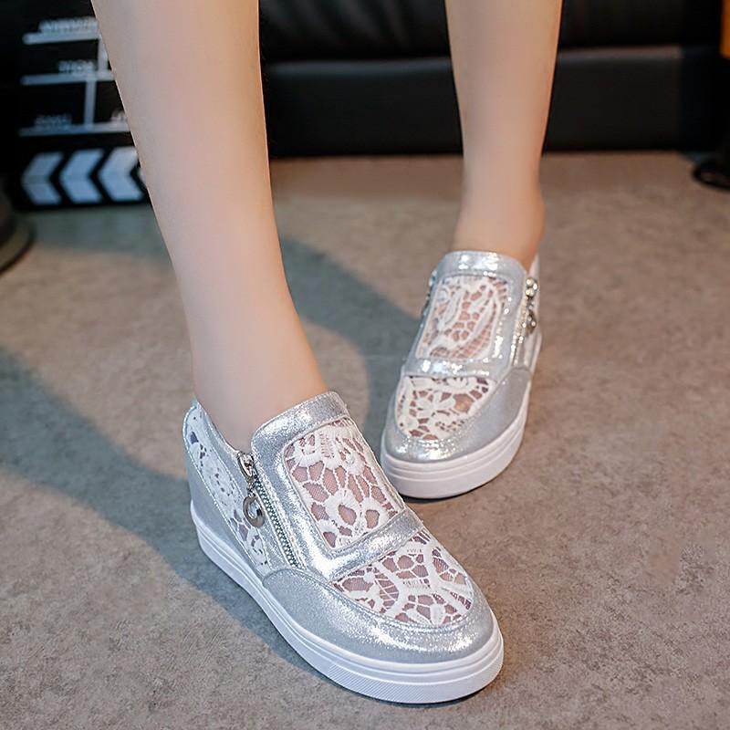 夏蕾絲網面單鞋真皮坡跟鏤空透氣內增高女鞋休閒平跟水鑽網紗鞋水鑽網紗鞋水鑽網紗鞋水鑽網紗鞋水