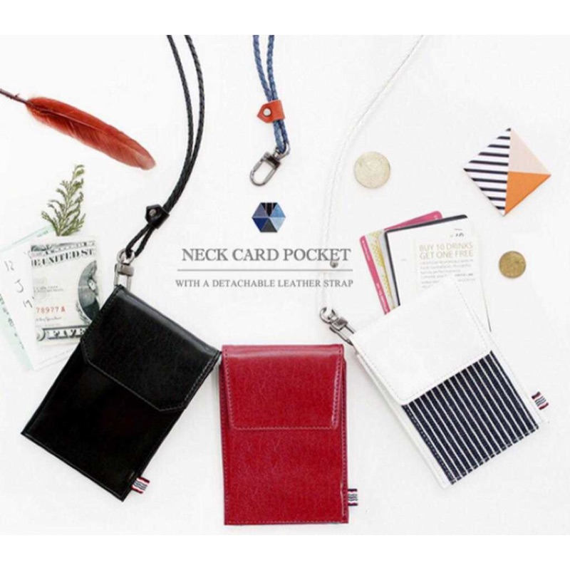韓國donbook 商務卡包小零錢包掛脖門禁交通卡夾胸卡套證件套皮夾掛繩胸卡工作證識別證卡